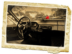 Memorabilia (Adriano.) Tags: italy rome roma car photoshop canon vintage italia edited postcard picture retro layers treatment 10faves 400d