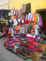 Hijabs for Sale (kyle simourd) Tags: africa street color colour colors religious women colorful colours market head sale african muslim religion hijab stall arabic morocco fez colourful sell selling moroccan fes