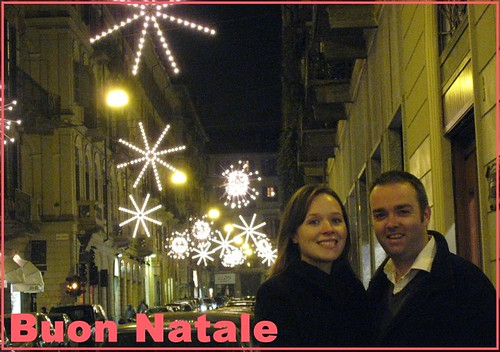 Picture of us in Via Mazzini with the Christmas lights in the background
