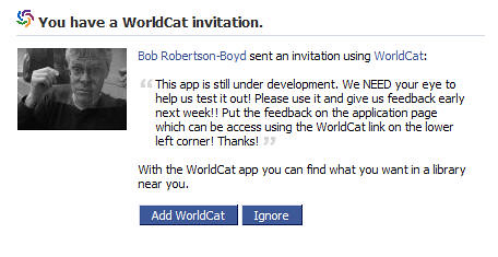 facebook worldcat invitation details