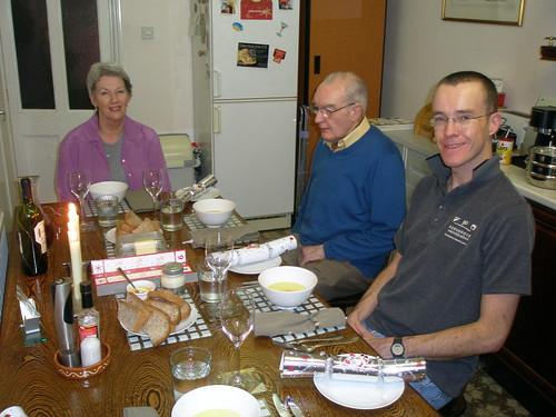Dawn, John and Michael, Christmas Dinner