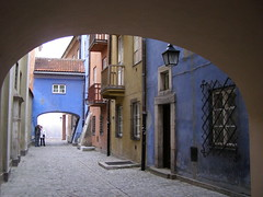 Old Warsaw  in blue (baltic_86 (mostly off)) Tags: street city blue beautiful europe arch pastel balcony poland warsaw fabulous 50 unlimited oldcity instantfave oureurope leagueofwomen absolutblue theperfectphotographer cartelblue yourcountry baltic86