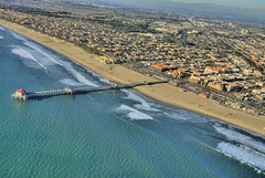 Huntington Beach (seantiner.com) Tags: california ca city blue beach water sport restaurant pier sand downtown surf surfer fame wave helicopter pacificocean coastline pilings orangecounty oc huntingtonbeach heli arial seantiner