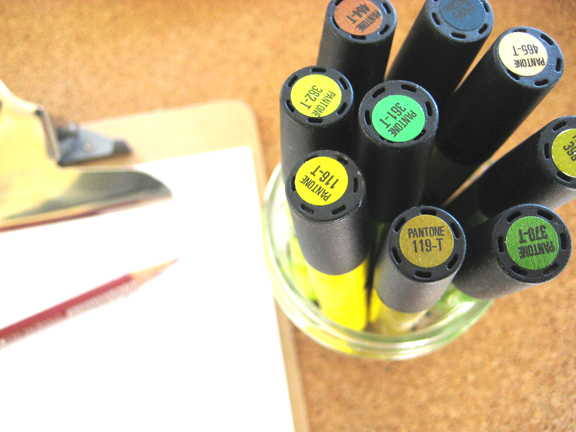 pens + clipboard