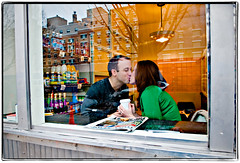 Morning Routine (Ryan Brenizer) Tags: nyc newyorkcity love coffee brooklyn store engagement nikon kiss january dumbo coffeeshop noflash gothamist 2008 d3 2470mmf28g heatherandnoam
