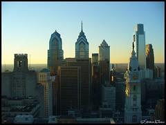 Philadelphia Skyline, as seen from PSFS Building (Harpo42) Tags: philadelphia skyline skyscraper comcast liberty dusk cityhall towers center philly verizon mellon pnb 430 williampenn centersquare bellatlantic