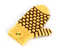 Beehive Mitten (Eskimimi) Tags: brown white wool yellow buzz knitting knit bee bumblebee yarn gloves honey button glove knitted bumble honeybee mittens mitten mitt mitts bzzzzz