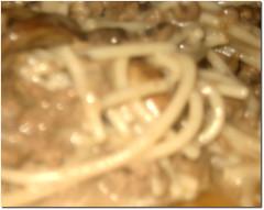 Spaghetti tossed with dairy-free stroganoff