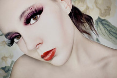 (Lampeduza) Tags: red portrait face mouth eyelashes makeup sensual femenine dec