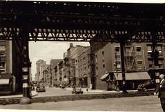 NYC - 18th street - 1942 (oldeastsidr) Tags: newyorkcity newyork manhattan lowereastside tracks 18thstreet 1stavenue oldnewyork elevatedtrain firstavenue