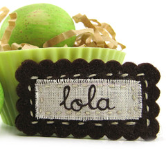 Personalized Hair Clip (Brown) (Details, Inc.) Tags: girls hair monogram felt clip stitched personalized hairclip