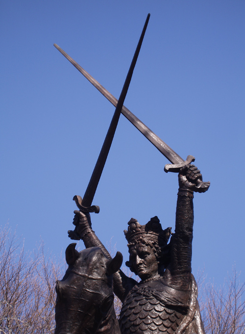close up of King Jagiello sculpture, Central Park, NYC