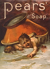 Bizarre Pears Soap Ad (MsBlueSky) Tags: old baby children weird soap infant ad creepy advertisement bathtub sponge violent pearssoup unsettilng