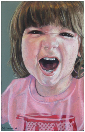 Colored pencil portrait entitled Rawr!