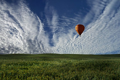 Morning Air (Carlos Gotay Martínez) Tags: air sky landscape morning nature light clouds outdoor outside natural balloon grass horizon fly floating hills outdoors serene flying breeze grassland minimalist serenity open space peacefulness