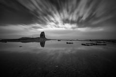 A Ghost on the Nab (johnkaysleftleg) Tags: saltwickbay blacknab reflections longexposure 10stopfilter 5stopfilter mono blackwhile northyorkshiremoors yorkshire coast england canon760d sigma1020mmf456exdchsm