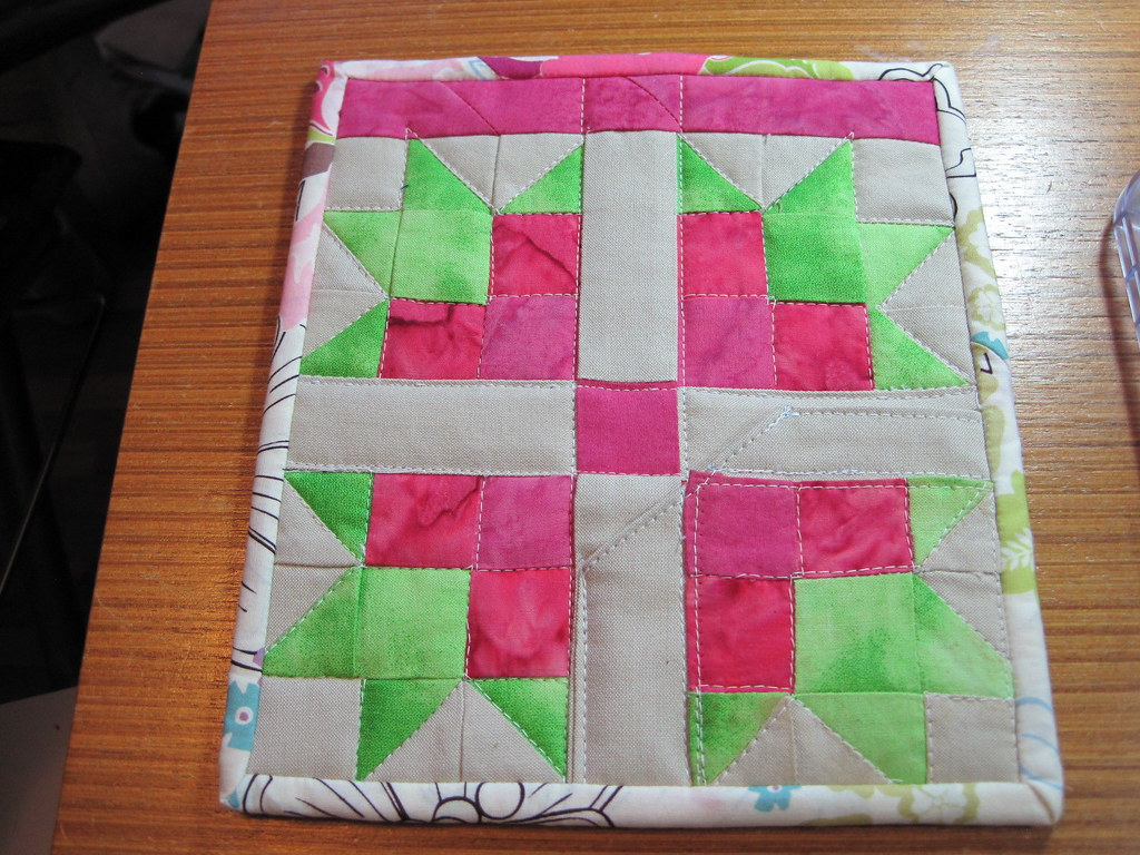 Mug Rug - Pieced Pink Magnolia Block