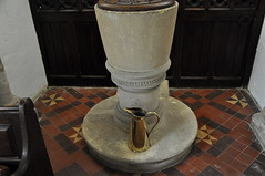 Wyck Rissington 12th century tub font on Victorian base -175 (bwthornton) Tags: travel holiday art history tourism church architecture churches stainedglass cotswolds medieval gloucestershire nave tub font guide bourtononthewater hardman kempe jamespowell rissington churchcrawling wyckrissington jekcutts