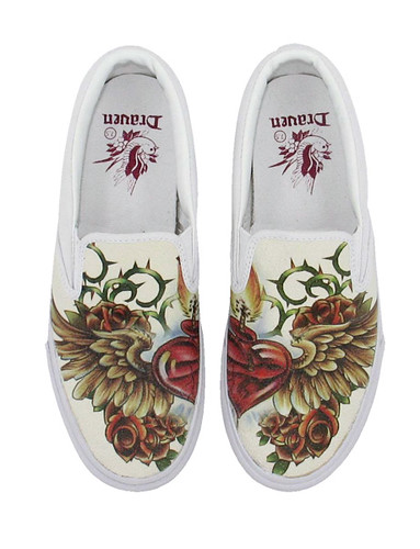 Draven Wicked Love Tattoo Slip-on featuring traditional Sacred Heart tattoo