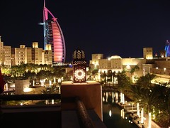 Souk Madinat and Burj Al Arab at night (rticotropical) Tags: city urban building tourism architecture dubai uae arabic arab unitedarabemirates
