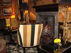 Log fire in Yellow Room, Prestonfield Hotel, Edinburgh