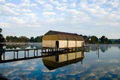 Brand New Day (avirus) Tags: morning sky mist reflection clouds bay maryland boathouse chesapeake leonardtown