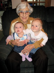 Great-Great Aunt Helene loved playing with the babies!