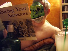 going back to my roots (werewegian) Tags: book funny mask drink reptile darwin lizard ancestor gin yesterday gingerbeer ancestry msh 52weeks week33 fgr feb08 werewegian msh020814 msh0208 utata:project=bookclub