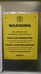 Perjury warning sign, Hackney Town Hall, Londo...