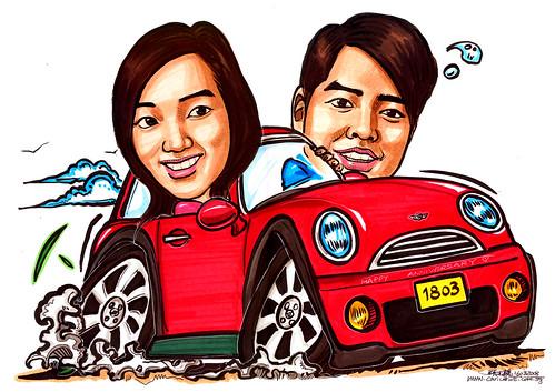 Caricatures couple Mini Cooper A4