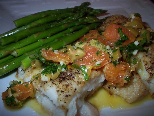 roasted halibut with citrus olive tapenade