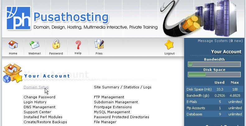 PusatHosting Domain Setup