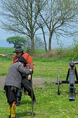 Sealed Knot in Pilley 11 May 08 (216) (Yorkshire Reckless & Proud) Tags: pilley tankersley sealed knot sealedknot reenactment cavalier roudhead round head uk united kingdom england cromwell oliver wentworth lord gun musketeer pike great britain drum band frumtarn train model narrow gauge canon cannon fire skoke noise vintage dress musket tent camp skty sun grass cloud trees happy fun blue yellow red community people beefeater dedicated moor battle robber funny