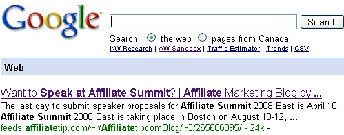 Affiliate Tip Shawn Collins Feed Indexed and Ranking