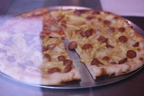 potato and hot dog pizza