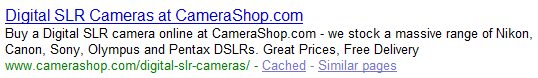 Category page title SERP example plurals only