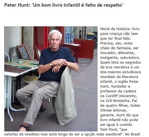 """Peter Hunt: """"Um bom livro infantil é feito de respeito"""""""