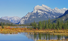 Mt Rundle (njchow82) Tags: trees mountain canada reflection nature landscape scenic alberta banff majestic mtrundle canadianrockies vermilionlake incrediblenature worldtrekker