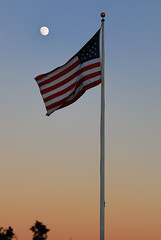 Flag of the United States in the Moon Light 月光...