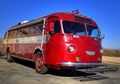 Old Flxible Red Bus (Thad Roan - Bridgepix) Tags: old red bus vintage motorcoach flxible yuccavalley