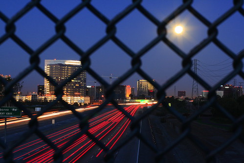 speeding down a moonlit freeway