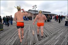 Vikings on the Boardwalk! (pixietart) Tags: nyc winter orange cold beer nycpb brooklyn coneyisland hats boardwalk gothamist viking 2008 rubys bathingsuit newyearsday manback coneyislandpolarbearclub