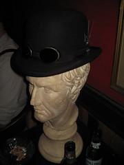 Julius Ceasar  tries on my hat (Cryptonaut) Tags: nc durham goggles ringside steampunk clockhands juliusceasar clockworkball