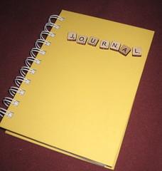 yellow scrabble journal