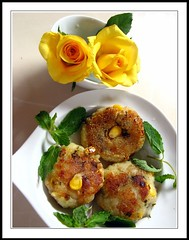 Corn croquettes (shubhangi athalye) Tags: food india rose yellow corn mint homemade snacks patties yellowroses cutlets croquettes pudina