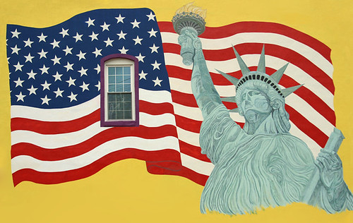 MURAL: AMERICAN FLAG, LADY LIBERTY, and WINDOW