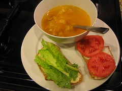 Chicken noodle soup and Hummus Sandwiches