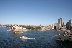 Circular Quay, viewed from the Sydney Harbour Bridge (hanszinsli) Tags: sunset sydney circularquay sydneyharbour sydneyoperahouse sydneyharbourbridge manlyferry milsonspoint thecoathanger thetoaster