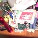 Pile of things on desk