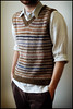 Striped Vest in Handspun and Recycled Tweed